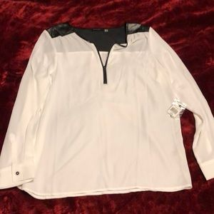 NWT white with black faux leather detail blouse